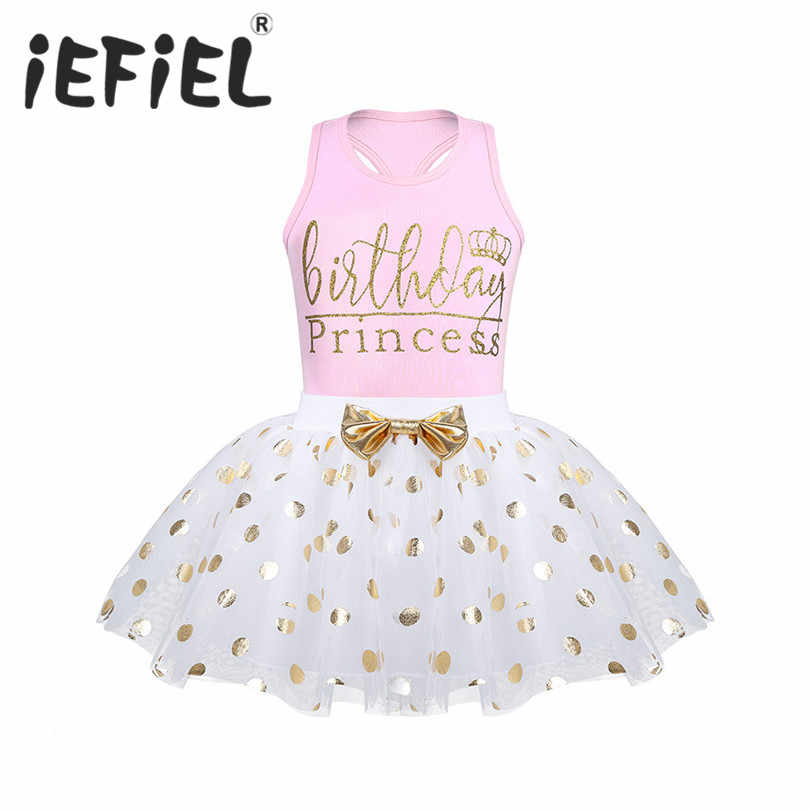 iEFiEL Kids Girls Infant Baby Girls Birthday Princess Outfit Sleeveless Tops with Polka Dots Skirt Set for Birthday Party Sets