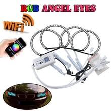 4*131MM Multi-Color Flashing WIFI Phone Control RGB Led Angel Eyes Halo Rings Kits For Bmw E36 E38 E39 E46 Projector Car-styling