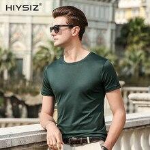 HIYSIZ New Men T-Shirts 2019 Soft Silk Streetwear Popular Solid Casual T Shirt O-NecK TShirts For Summer ST027