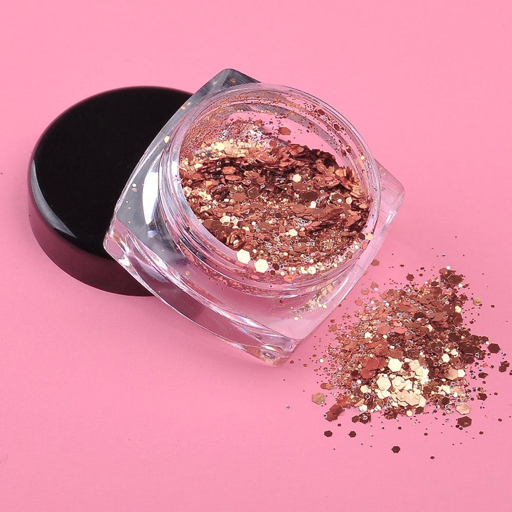 1 Box Rose Gold Nail Glitter Powder Sequins Mixed Nail Sparkles ...