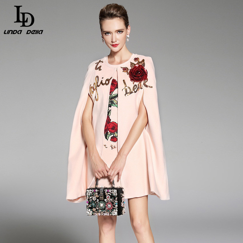 LD LINDA DELLA 2018 Для женщин Зимний плащ Шерстяные пиджаки Теплый элегантный розовый цветочный цветы Аппликации блесток кашемировое пальто верхн...