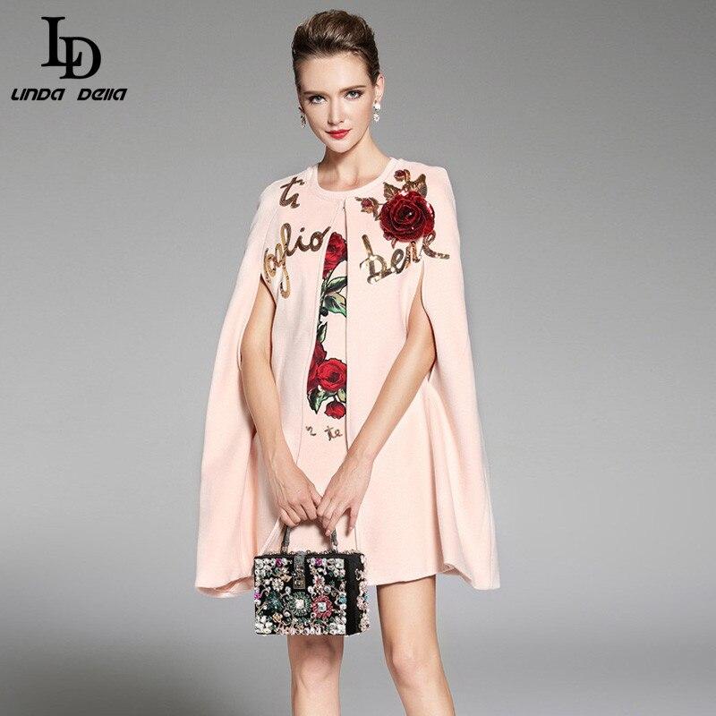 LD LINDA DELLA 2018 Femmes D'hiver Manteau Laine Manteaux Chaud Élégant Rose Floral Fleurs Appliques Sequin Cachemire Manteau Outwear