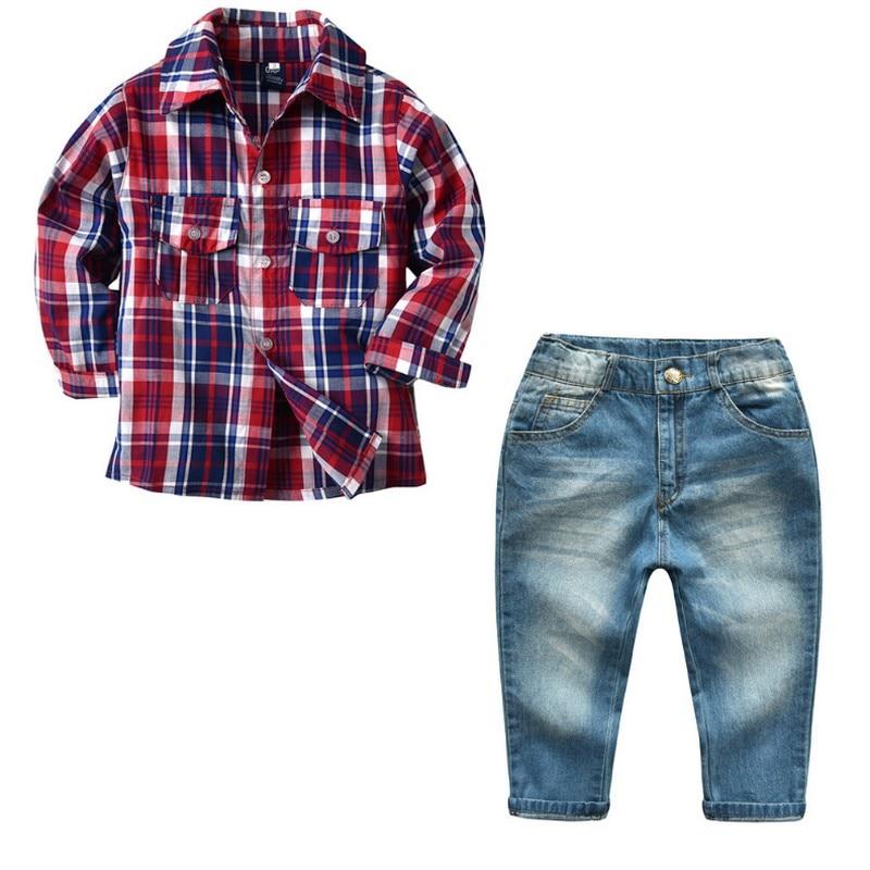 купить Kobeinc 2018 New Winter Boys Set Clothing Boy Plaid Long-sleeved Shirt And Pants Child Suit Spring Casual Set For Kids Boys недорого