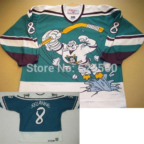 684bac4f16a custom Throwback 1995-1996 season Anaheim Mighty Ducks third Movie jersey  #8 Teemu Selanne jersey Wild wing sew any no./Name