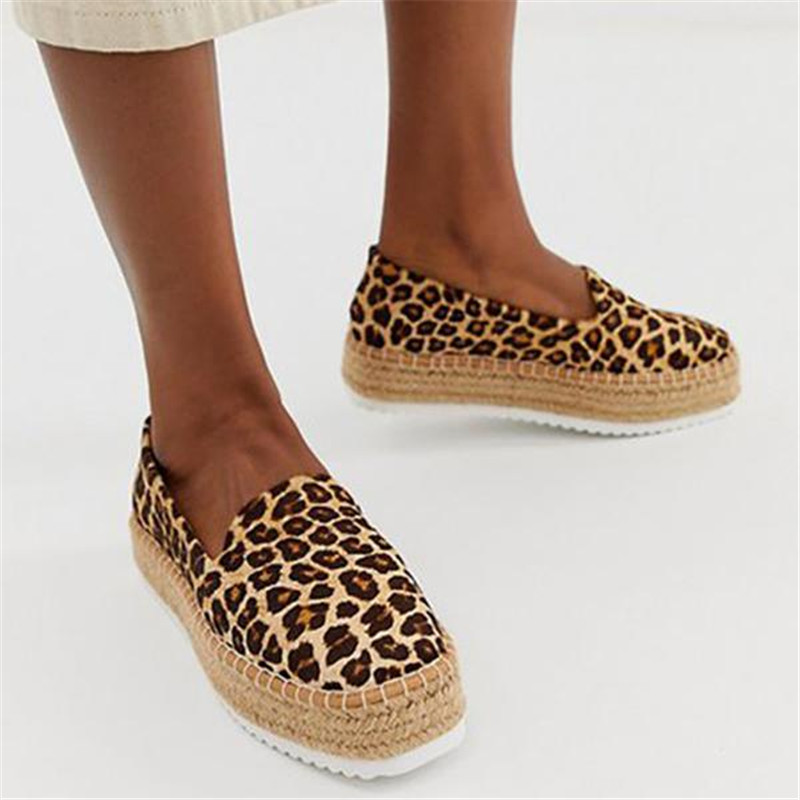 Faux Suede Espadrilles Shoes Slip-on Casual Loafers Women Platform Flats Sewing Comfortable Spring Autumn Ladies Leopard Shoes
