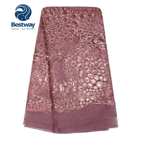 Bestway Latest African French Lace Fabric With Sequins 2018 High Quality Pink Tulle Fabric Lace Embroidery Laces For Crafting