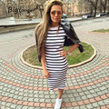 Summer dress women 2017 Sheath dresses Striped Dress Short  Sleeve plus size women clothing  dresses Mid-Calf