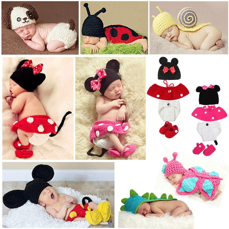 2017-ի նորածինների լուսանկարչական պրոցեսները բարձրորակ 100% ձեռագործ տրիկոտաժ Kawaii մանկական հագուստ Acessorios Baby Boy պարագաներ Baby muts