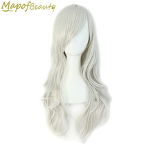 "Long Curly Synthetic Hair 28"" 19 Colors Black White Blonde Green Blue Red Cosplay Wigs Heat Resistant Ladies Party MapofBeauty(China)"