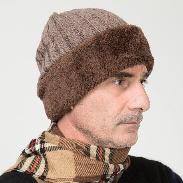 Мужская кашемира вязание толщиной теплую шапку старший мужской осенью и зимой шляпа новый год подарок B-0668