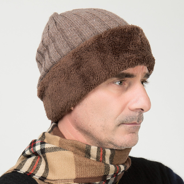 Men's  cashmere knitting  thick  warm cap elder male autumn and winter hat  new year gift  B-0668