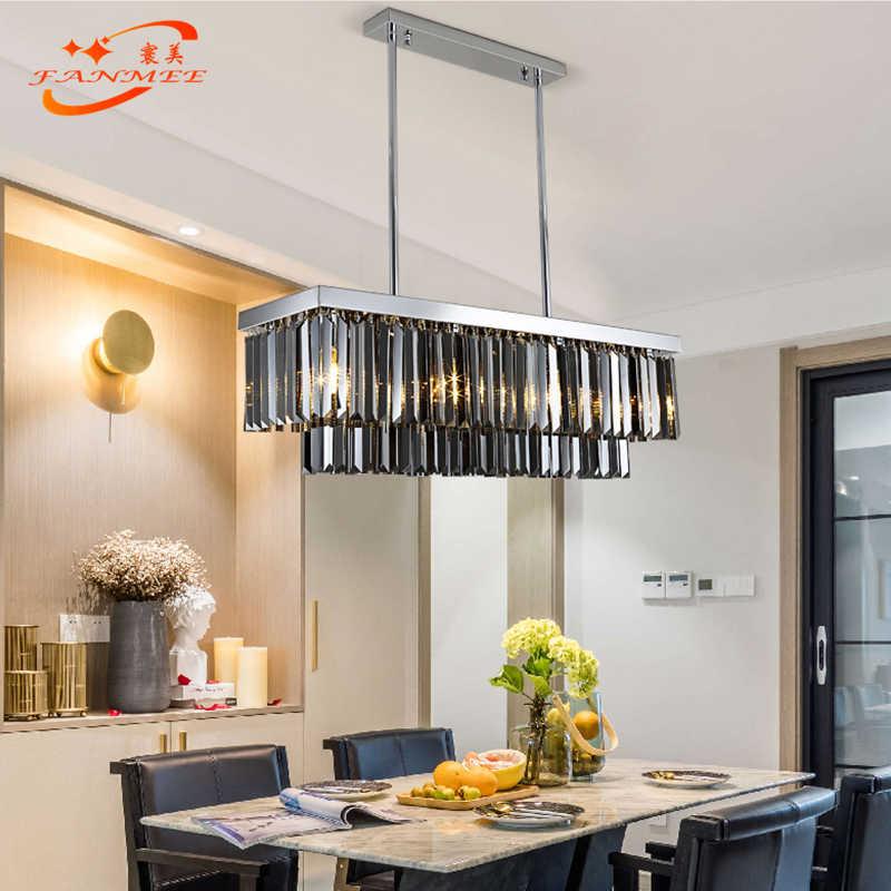 Modern Odeon Crystal Chandelier Lighting Retro Nordic LED Chandelier Hanging Light Smoky Grey K9 Crystal Prism Chandelier Lamp