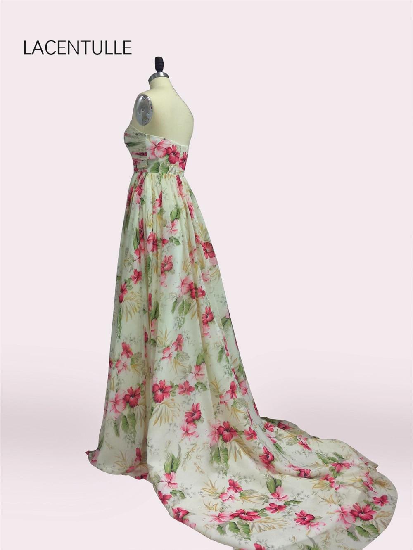 Robes de soirée sans manches longues en mousseline à imprimé Floral