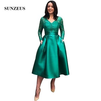 Green Mother Of The Bride Dresses With Lace Long Sleeves V-neck A-line Tea Length Evening Party Dress For Women Satin Robe