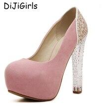 Девушки одеваются насосы розовые туфли сексуальные туфли на высоком каблуке кристалл обувь насосы женщин каблуки партии женщин дамы свадебные туфли женщина C809