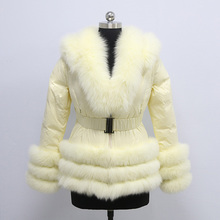 Free shipping factory wholesale price winter jacket women big collar puffer jacket popular real fox