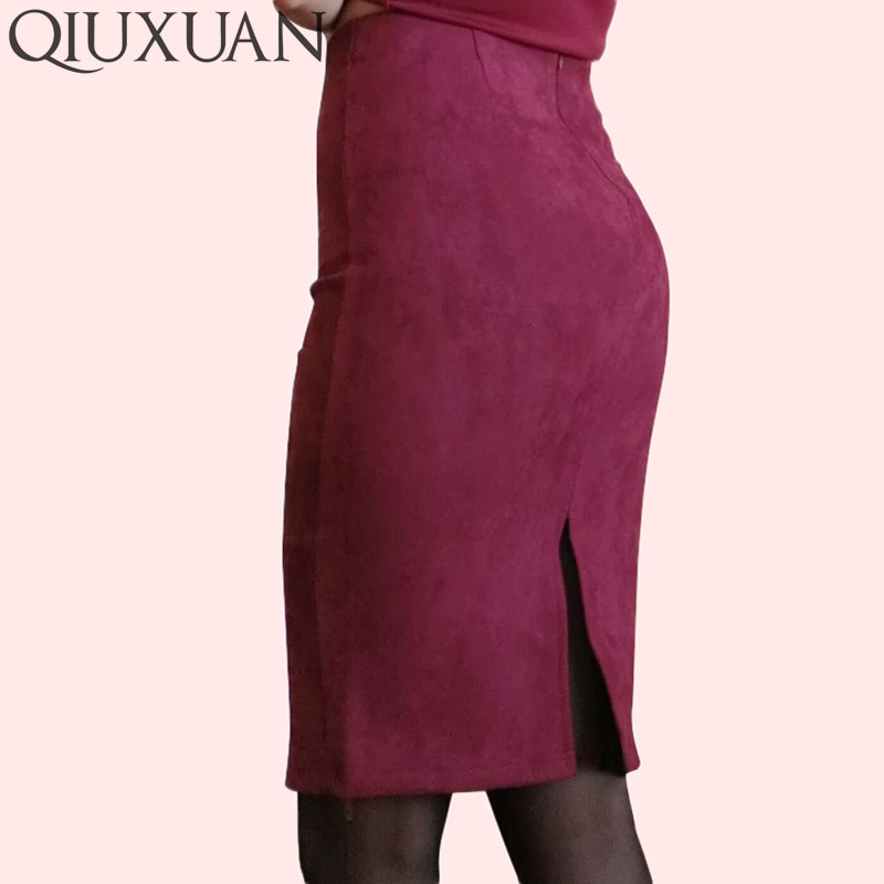 Elegant Women Skirts Spring Fashion Faux Suede Female High