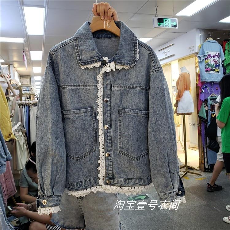 Fall 2019 New Womens Denim Coats Fashion Lace Stitching Loose Denim Coat Student Fashion Jean   Jacket     Basic     Jackets   Nancylim