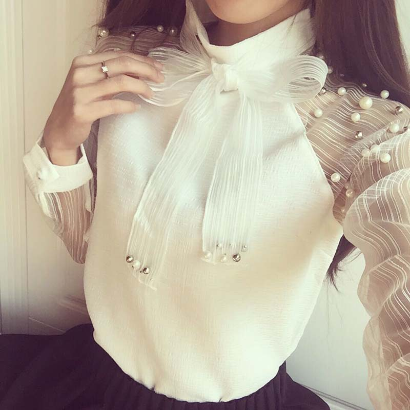 blusas y camisas mujer bow chiffon white blouse women blouses long sleeve shirt woman womens tops clothing vetement femme ladies