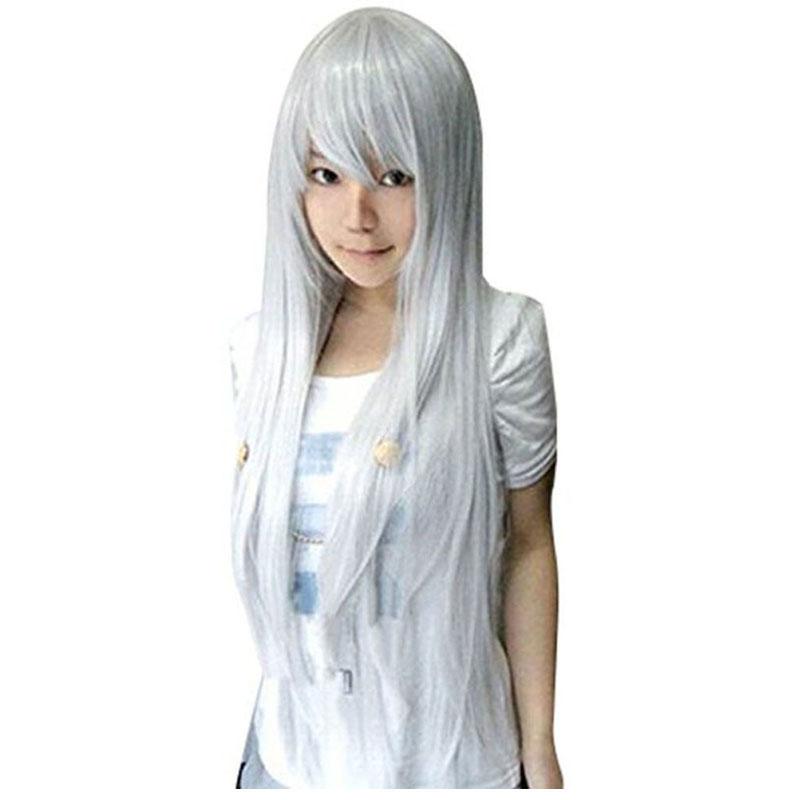 Zen Nyo Prussia Natural 80cm Long Straight Totoro Silver Grey Vocaloid Synthetic Cosplay Wig + Wig Cap