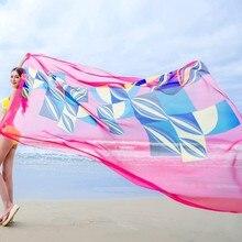 Summer Women Beach Sarongs Chiffon Scarves Geometrical Design Swimsuit Cover Up Dress Plus Size pareos de