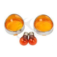 2x Orange/Clear/Smoke/Red Turn Signal Lens Cover Visor Style Ring + Bulb For Harley Dyna Softail Sportster Road King FLHX FLTRI цена