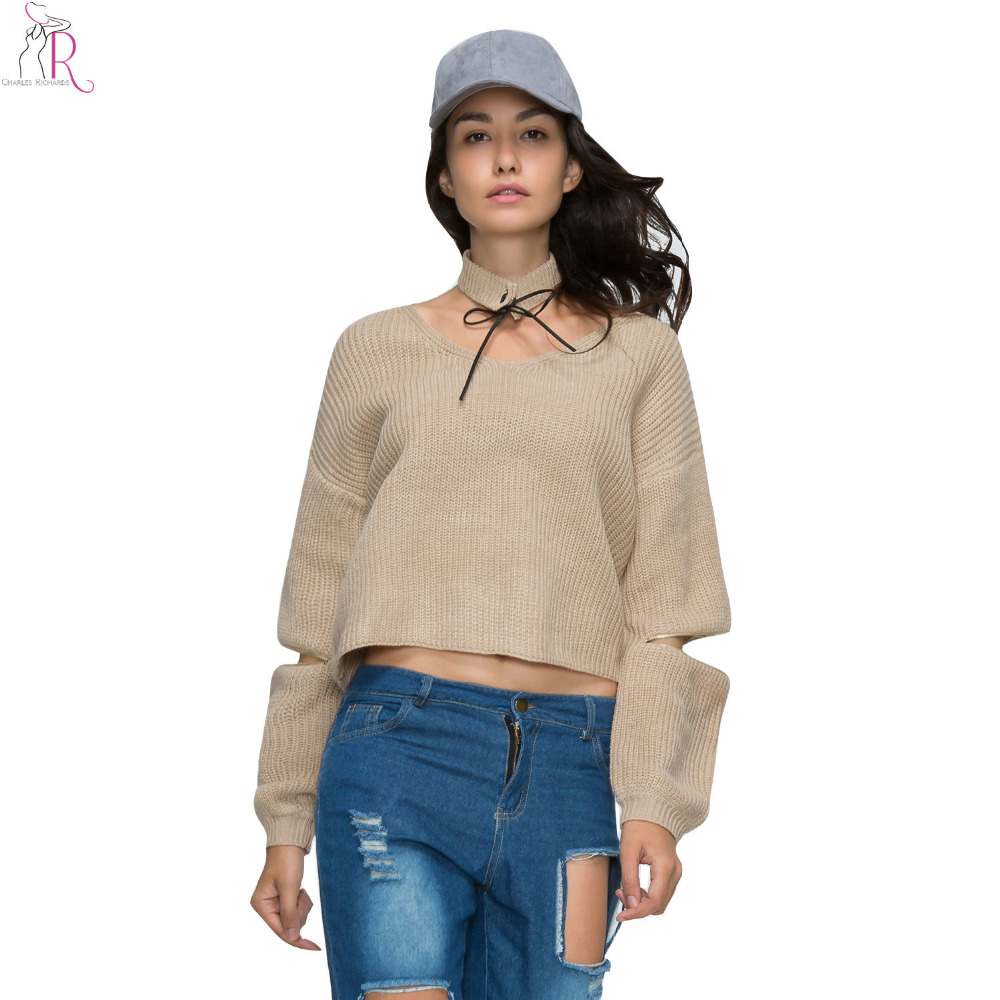 4 Colors Knitted Crop Top Sweater Jumper Pullover Long Sleeve ...