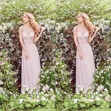 Free Shipping 2017 New Design V-Neck Lace Ruffles A-Line Chiffon Long Bridesmaid Dresses Wedding Party Dress Maid of Honor HP06