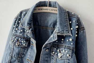 Vintage Parel Korte Denim Jassen Vrouwen 2019 Kralen Losse Jas Lange Mouwen Voor Meisje Casual Jean Jacket Bomber Oversized jas