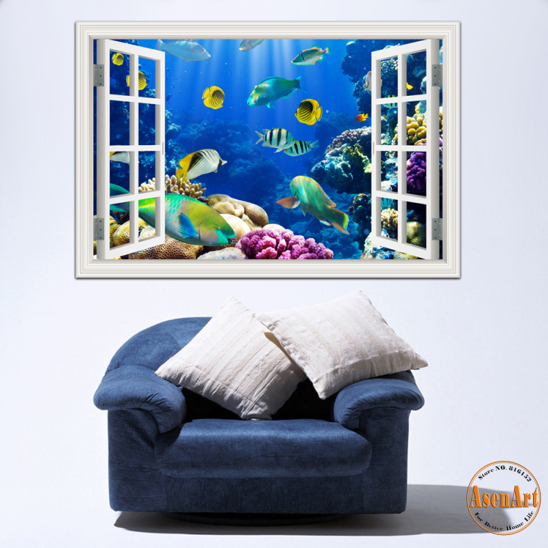 Buy 3d window view underwater world and for Lambri pvc mural