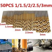 50Pcs Titanium Coated Hss Drill Bit Set Engineering 1-3mm High Steel Drill Woodworking Wood Tool for Wood Plastic Aluminum все цены