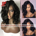 Cheap Good Quality Natural Wave Synthetic Lace Front Wig With Baby Hair Heat Resistant Fiber African American Short Wigs