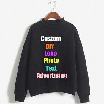 Logotipo personalizado DIY foto impresión sólido pulóver Color caramelo abrigo chándal de gran tamaño mujeres Sudadera con capucha femenina señoras Top Hoodies