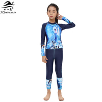 2017 Summer Beach High Quality Sport Girl One Pieces Swimwear with Long Sleeves Pool Swimsuit Surfing or Snorkeling Bathing Suit