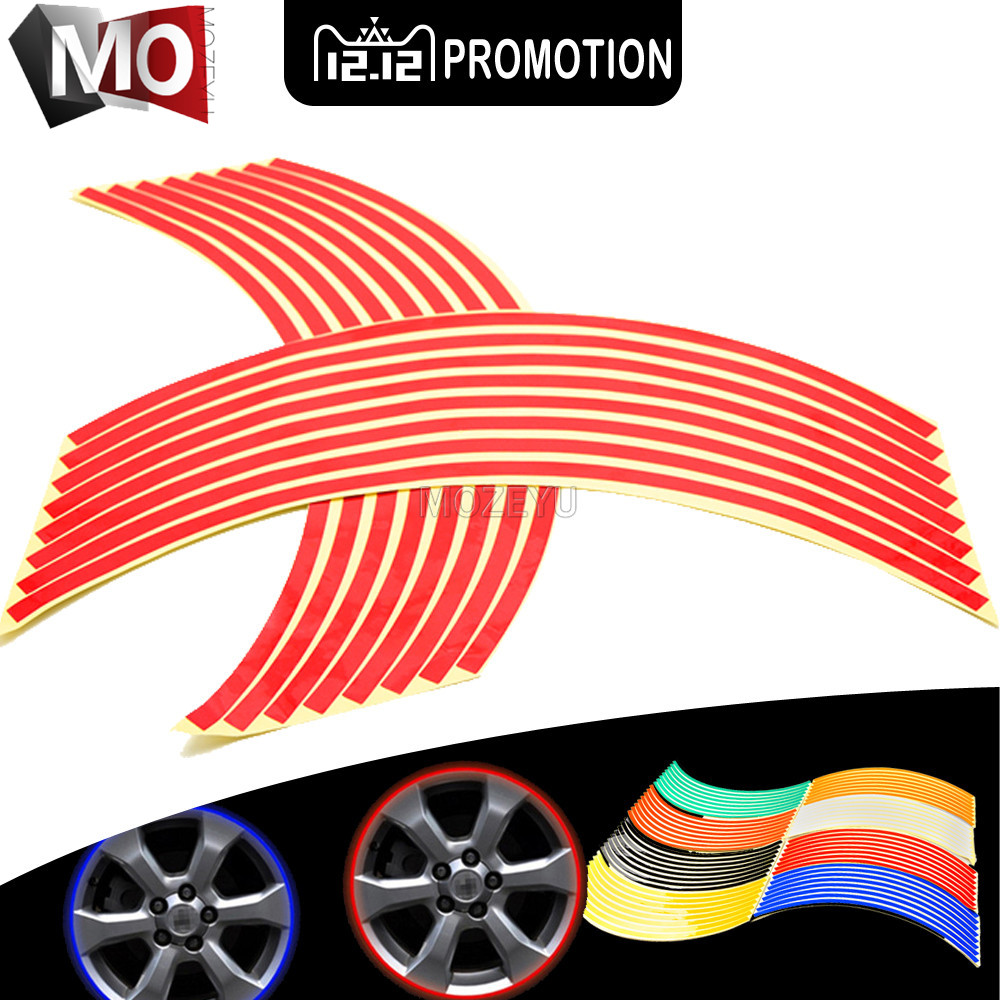 16 Strips Car Styling Motorcycle Wheel <font><b>Sticker</b></font> Reflective <font><b>Decals</b></font> Rim Tape For <font><b>SUZUKI</b></font> 600/<font><b>750</b></font> KATANAB-KING DL1000/V DL650/V-STROM image