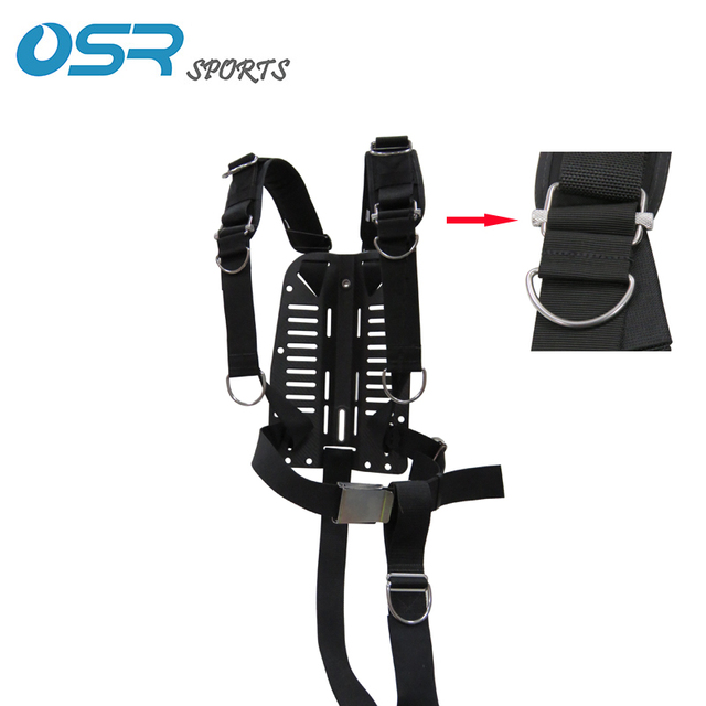 Scuba Diving Carbon Fiber Alu Aluminum Stainless Steel SS316 backplate with adjustable harness BCD back mount sidemount