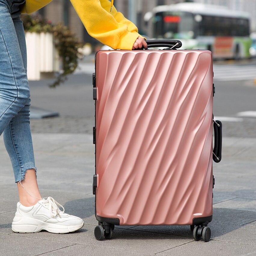 OISEAUX de Voyage de Cadre En Aluminium valise à roulettes Serrure TSA boîtier de chariot Résistant Aux Rayures Bagage Roulant Koffer