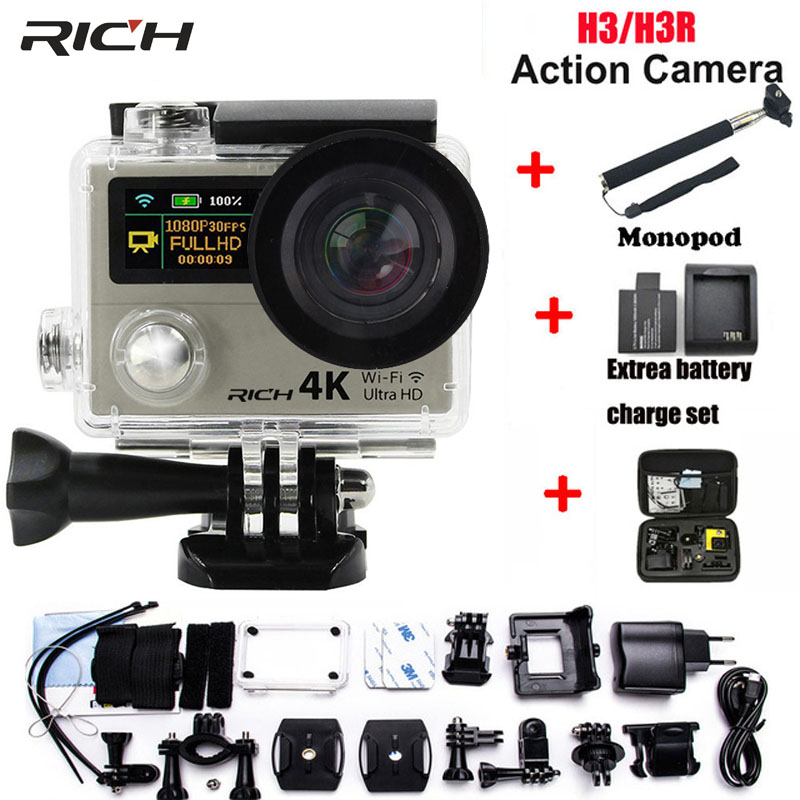 RICH Action Camera H3 4K Ultra HD Wifi 1080P Go Sj Pro Style With H3R Remote Control Waterproof Dual Screen Sport Camera