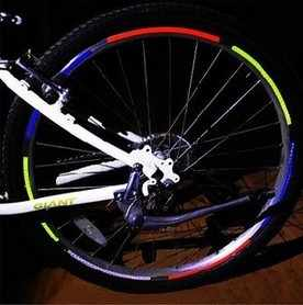 Neon Fluorescent Sepeda Bersepeda Roda Sepeda Reflektor Sticker Tape Rim Stiker Reflektif Aman Decal Aksesoris