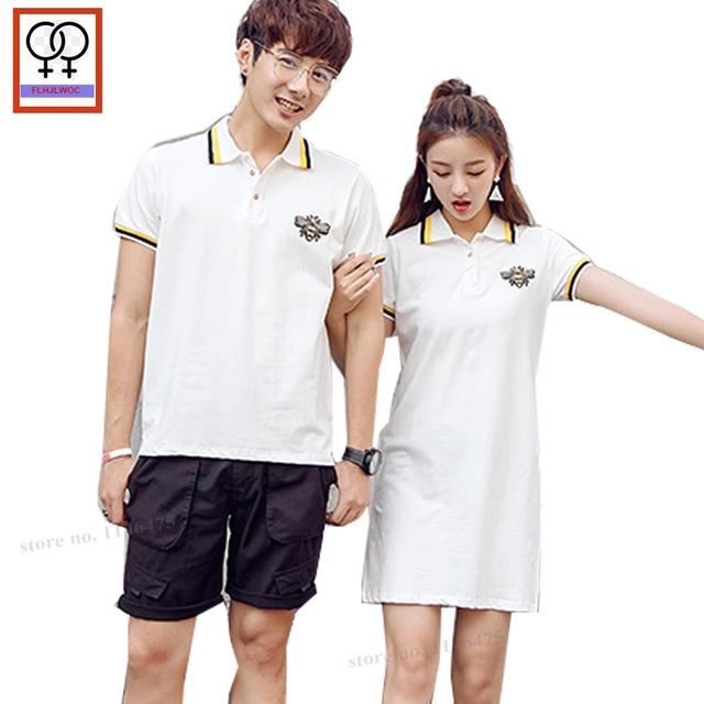 6bb9c5bd3f POLO Dress Summer Short Sleeve Back Bow Tie Casual Cute Sweet Girls Preppy  Style Matching Couple