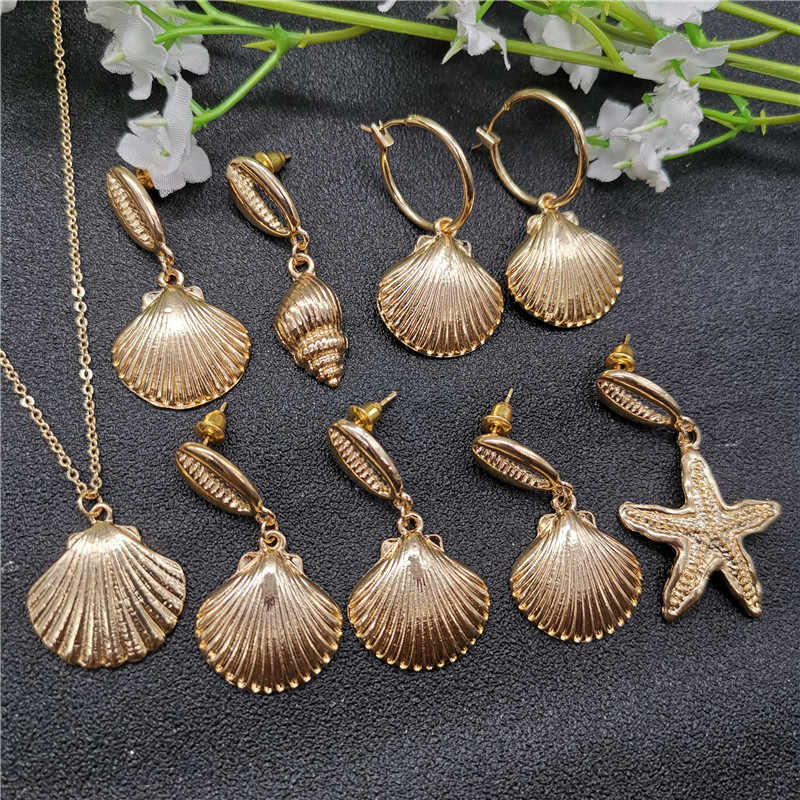 New Fashion Gold Color Alloy Cowrie Shell Earring for Women Geometric Circle Statement Pendant Bincos Beach Jewelry