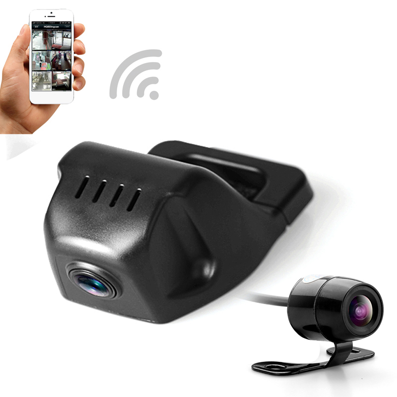 Car hidding DVR dual video recorder with WiFi APP FHD 1080p universal dash cam ...
