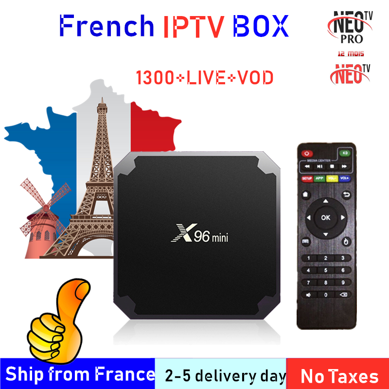 Meilleur français IPTV Box X96 mini Android TV Box avec 1400 + 1 an IPTV Europe France arabe francais maroc M3U Smart IP TV Box tv