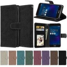 حقيبة جلد الوجه ل Asus ZenFone 3 ماكس ZC520TL X008D خمر محفظة حالة الوقوف غطاء و بطاقة حامل أكياس ل Asus 3 ماكس