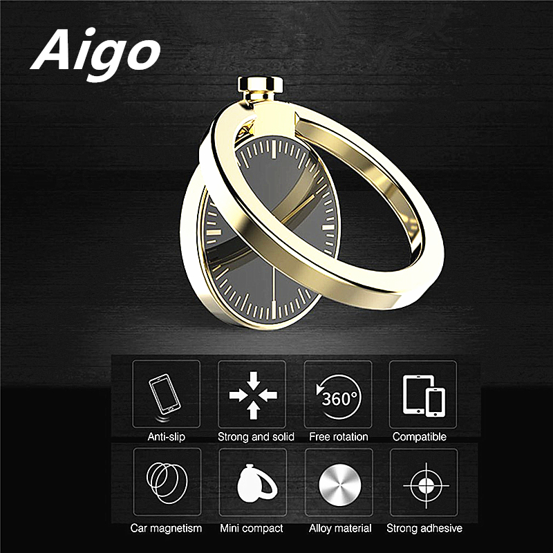 360 Degree Rotation Phone Stand Holder Round Shape Zinc Alloy Watch Decoration Finger Ring Stand For Smartphones For iphone X