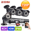 ZOSI 4CH CCTV System 720P DVR 500GB HDD 4PCS 1500TVL IR Weatherproof Outdoor CCTV Camera Home Security System Surveillance Kits