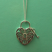 Sweet Heart Lock & key Necklace Women In 100% Pure sterling silver 925 original design free brand gift box Elegant jewelry women
