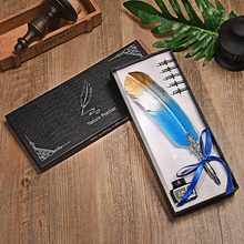 European Style Dip Water Feather Pen Gift Box Set Student Writing Tools Retro Fountai Creative Birthday 5 Nib
