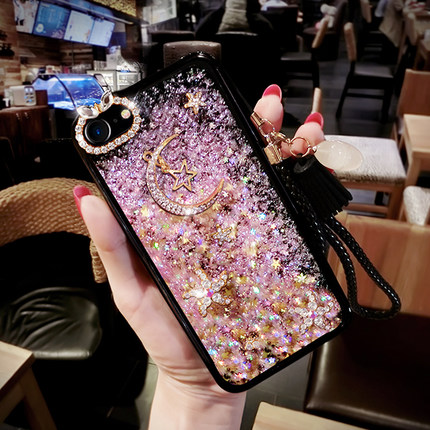 Half-wrapped Case Y Glitter Liquid Sand Quicksand Star Case For Vivo V3 V3 Max Y55 Y51 Y66 Y67 Transparent Clear Hard Cover With Rope Diyabei Pure Whiteness