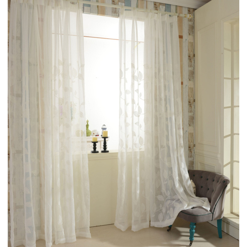 Embroidered Tulle Curtains White Linen Modern Sheer Living Room Window  Treatments Kitchen Door Floral Design Short Curtain Panel In Curtains From  Home ...
